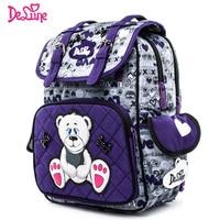 Delune Orthopedic Waterproof Children School Bag Girls Boys Grade 1 4 Backpack Cartoon Mochila Infantil Large