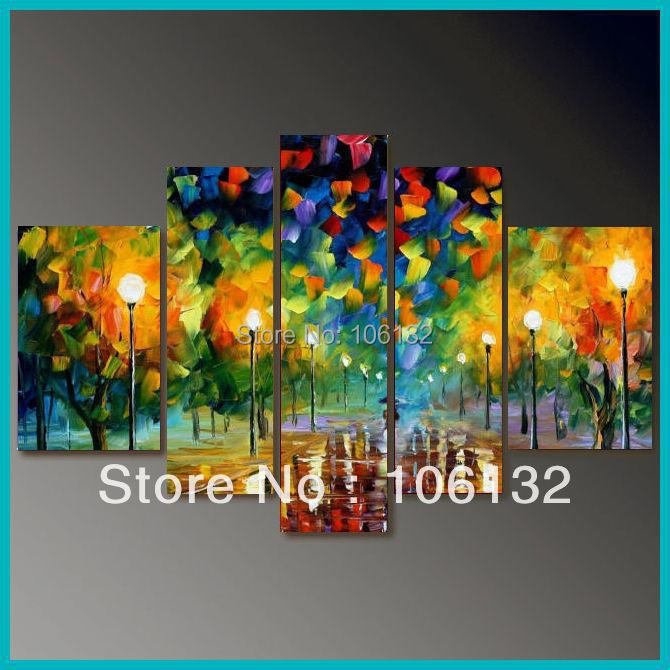 Framed 5 panel large quadro 5 piece canvas art colorful for Large colorful wall art