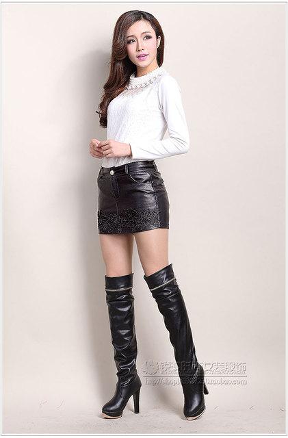 Mujer plus tamaño otoño primavera mid zip bordado diamante cortocircuitos delgados de la pu de la señora de invierno de gran tamaño impermeable de la pu shorts faldas