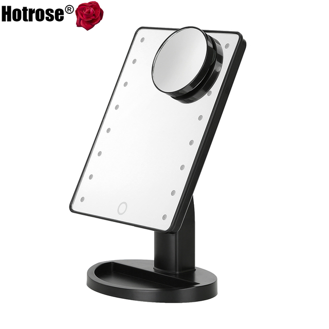 LED Touch Screen Makeup Mirror Professional Vanity Mirror With 16 LED Lights Adjustable Countertop 180 Rotating Free Magnifier