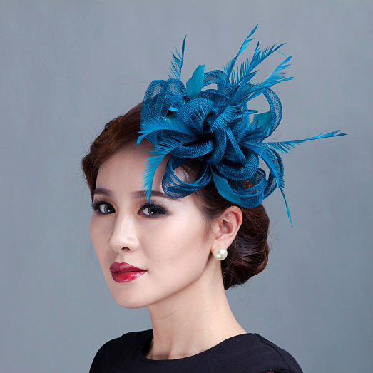 women teal loop Sinamay Hair Fascinators with Feathers-hair clip fascinator  headband for races church wedding party ee786e80df9