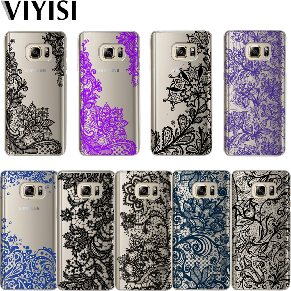VIYISI Lace Phone <font><b>case</b></font> For Samsung Galaxy <font><b>S8</b></font> S9 Plus <font><b>Case</b></font> <font><b>Sexy</b></font> Mandala Floral Cover J7 J5 J3 A5 A3 2016 2017 S6 S7 Edge Coque image