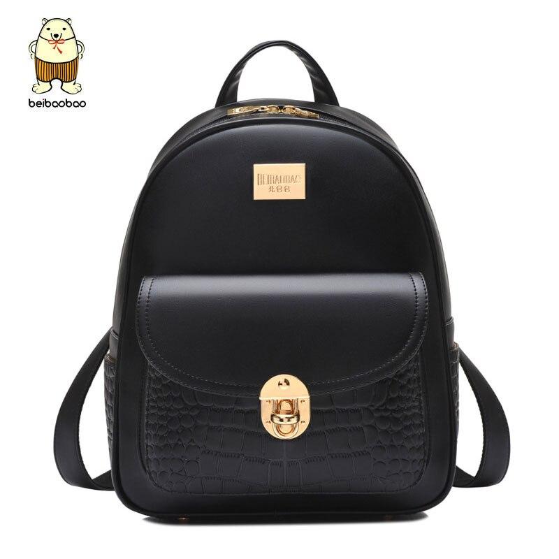 Beibaobao 2018 Leather Backpacks For Teenage Girls Fashion Girl s Backpacks High Quality Lock Pocket Design