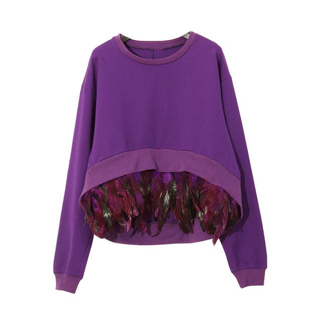 Feather Patchwork Sweaters 2017 Spring New Fashion Pretty Pullovers Full Sleeve Black / Purple / Grey Tassel Irregular Sweater