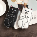 For Apple iPhone 7 7 Plus 5 5S 5SE 5C 6 6S Plus Cute Cat Case Ripndipp 3D Animals Soft Silicon Rock Pocket Kitten Cover