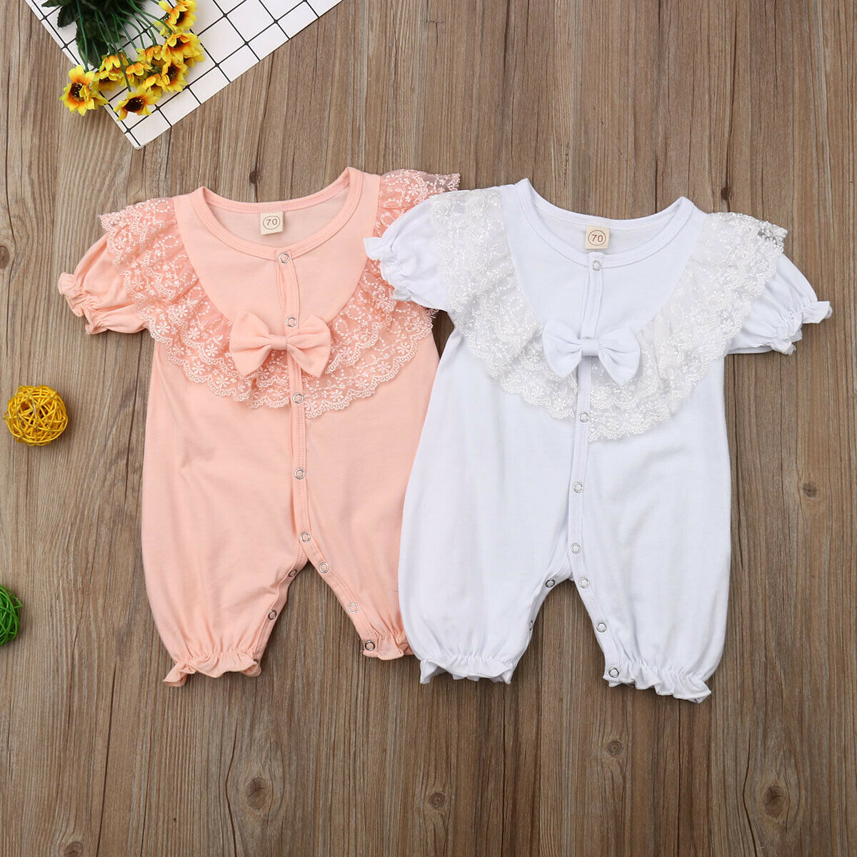 2019 Newest Style Newborn Baby Girls Spring Summer Button Up Lace Short Sleeve Romper Jumpsuit Clothes Outfits 6-24months
