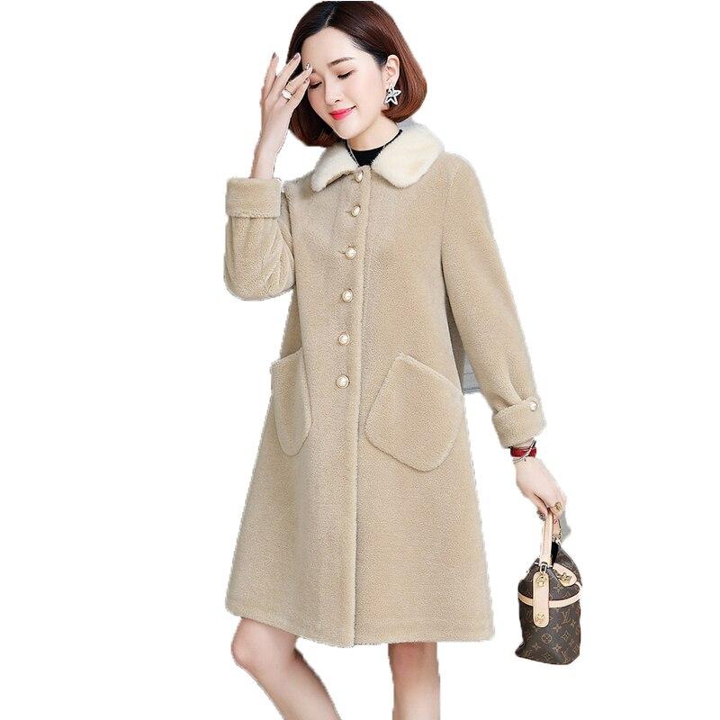 pink Élégant Réel D'hiver yellow 100 Pour 2019 Manteau Femmes Vêtements Red Laine Zt1582 gongmi Veste Col Automne Vison Coréen Vintage Haut De Fourrure Femme 4wZqBn5