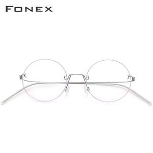 Image 3 - نظارات فونكس بدون مسامير وصفة طبية للنساء نظارات قصر النظر المستديرة البصرية الكورية سبائك التيتانيوم إطار نظارات الرجال 98620