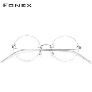 Image 3 - FONEX bezśrubowe okulary okulary korekcyjne kobiety bez oprawek okrągłe krótkowzroczność optyczne koreański tytanu okulary z lekkiego stopu rama mężczyźni 98620