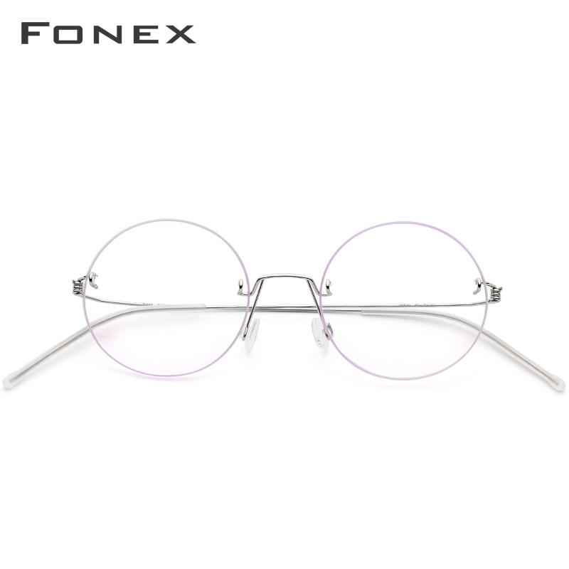 FONEX lunettes sans vis Prescription lunettes femmes sans monture ronde myopie optique coréen titane alliage lunettes cadre hommes 98620 - 3