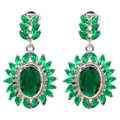 "Green Quartz Cubic Zirconia Silver Earrings Wholesale Retail Hot Sell For Fashion Women Jewelry Stud Earrings 1 1/4""  FH6197"