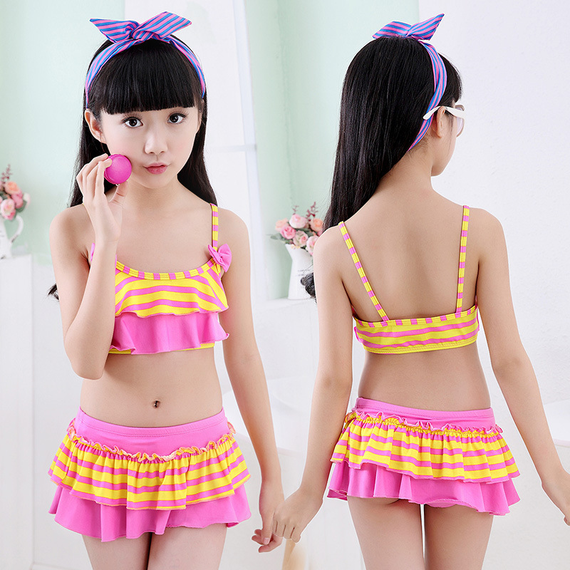 2019 Summer New Pop Kids Swimsuit Striped Children Swimwear Kids Two Pieces Skirted Swimsuit Girls Bikini Beach Wear Swimsuit