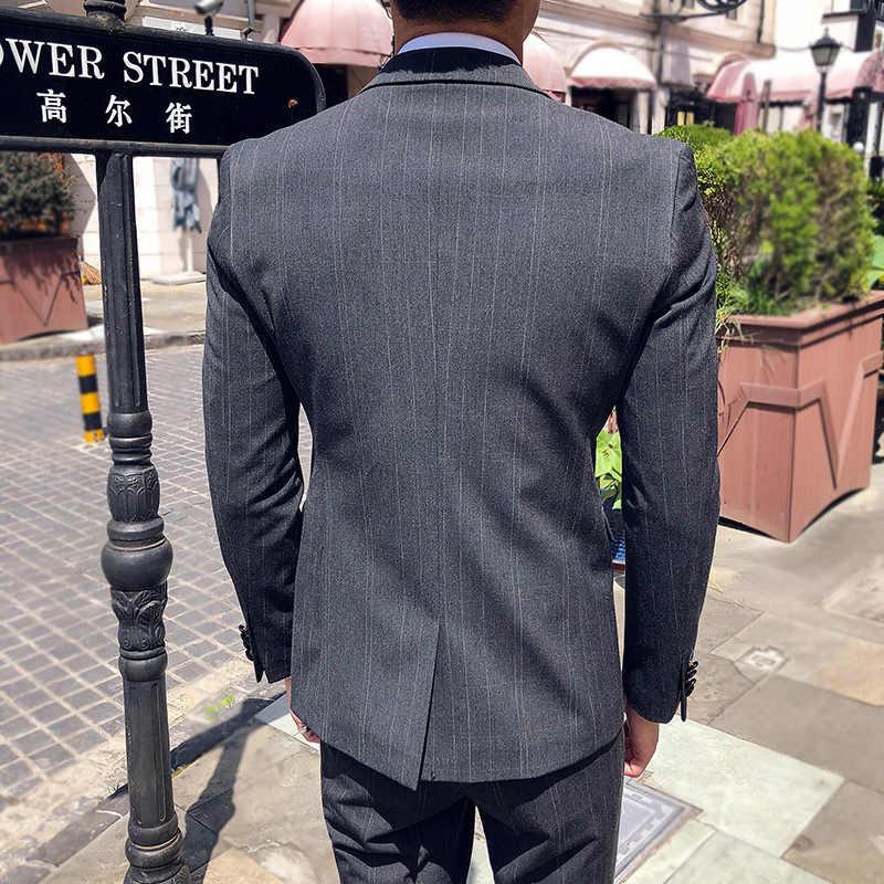 Мужские костюмы 2019 весеннее свадебное платье деловой формальный винтажный ночной строгий костюм клетчатый костюм по фигуре Sicngle приталенные пиджаки Мужской комплект