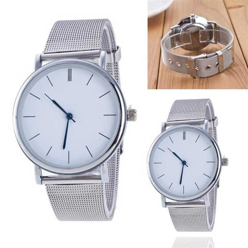 2020 New Fashion Unisex Women Ladies Silver Stainless Steel Mesh Band Silver Wrist Watches ladies watch relogio dropshipping 35