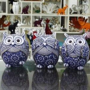 Image 5 - Coruja estatuetas decoração mini animais ornamentos para casa acessórios de decoração de escritório artesanato decoração de arte 3pc presentes de casamento
