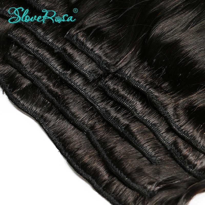 Brezilyalı remy düz saç afro-amerikan klip insan saçı postiş hiçbir arapsaçı ve bölünmüş 120 g/takım 8 adet çözmek Rosa saç