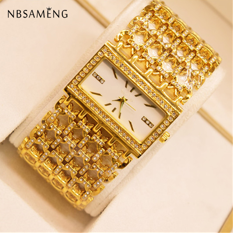 Women Luxury Crystal Gold Bracelet Square Watches Ladies Fashion Bangle Dress Watch Quartz Clock Hour Relogio Feminino купить