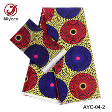 2018 latest 2 in 1 Satin material African wax Nigeria design fabric hot selling yards Chiffon+4 AYC-04