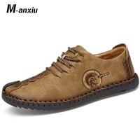 M anxiu Quality Fashion Leather Shoes Comfortable Casual Shoes British Joker Split Loafers Men Shoes Men Flats 2018 Lace Up Doug