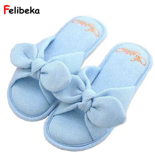 Drop shipping Cotton Fabric Bow Slippers Home Spring Summer Sides ...