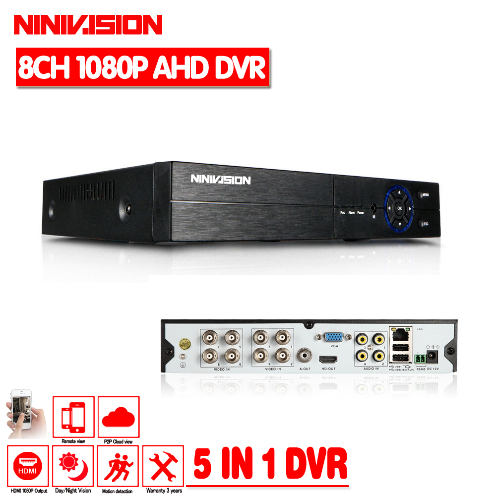 NINIVISION 8CH AHD 1080P DVR Hybrid DVR/1080P NVR Video Recorder AHD DVR For AHD/Analog Camera IP Camera TVI Camera CVI Camera hiseeu 8ch 960p dvr video recorder for ahd camera analog camera ip camera p2p nvr cctv system dvr h 264 vga hdmi dropshipping 43