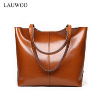 LAUWOO Latest Women Cow Leather Tote Bag High Quality Ladies Casual Leisure Shopping Bag Female Genuine