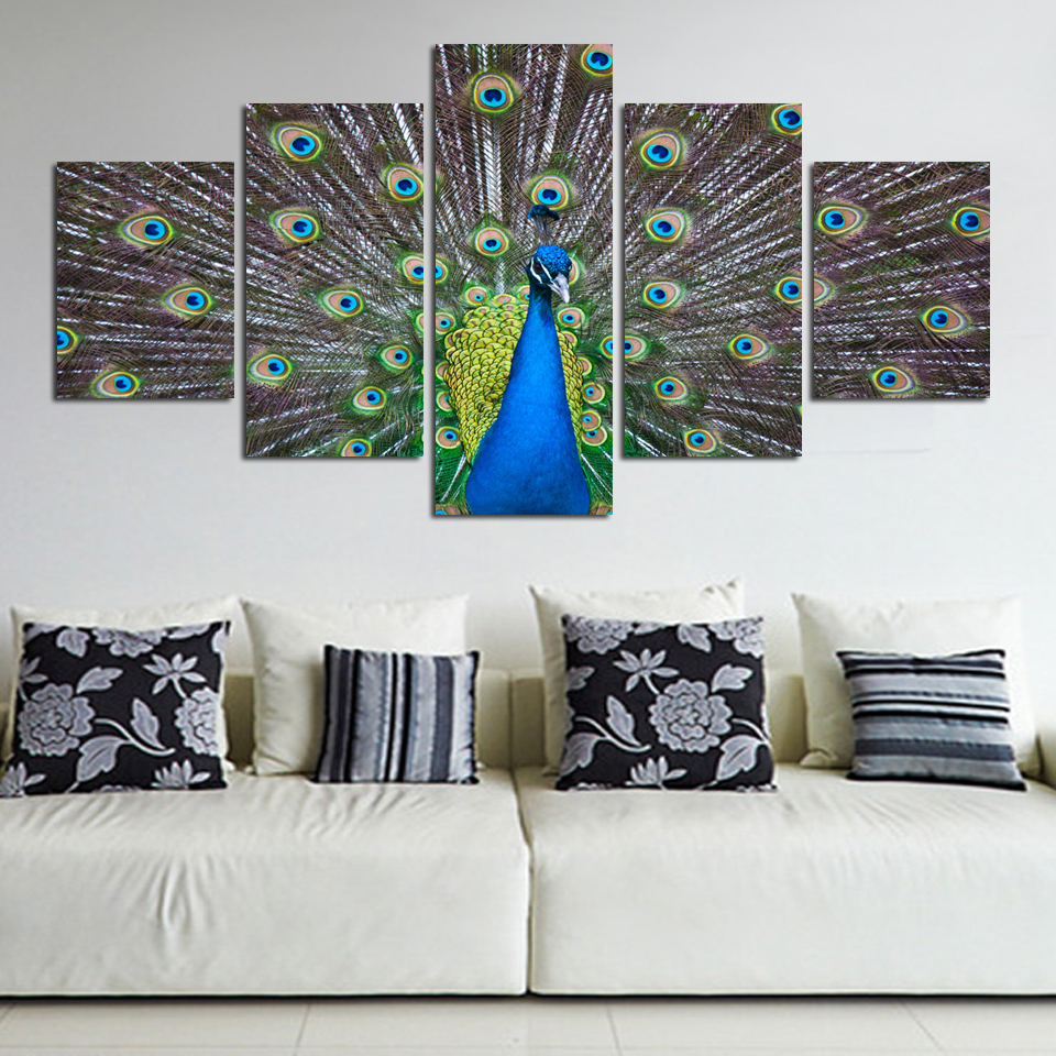 Modern Canvas Printing Peacook 5 Pieces Canvas Picture