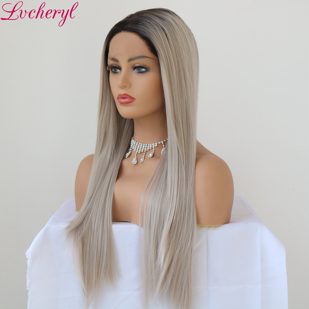 Lvcheryl Hand Tied Long Straight Ombre Grey Middle Part High Temperature Fiber Hair Soft Synthetic Lace Front Wigs for Women