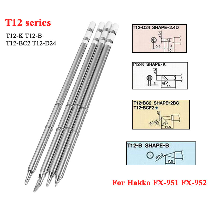 4Pcs/set T12 K T12 B T12 BC2 T12 D24 Solder Iron Tips T12 Series for ...