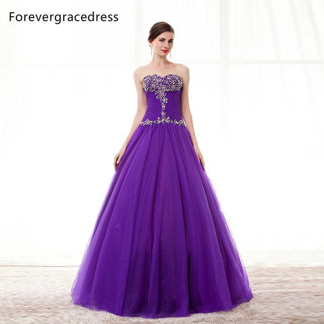 Forevergracedress Real Pictures Purple Color Prom Dress Crystal ...
