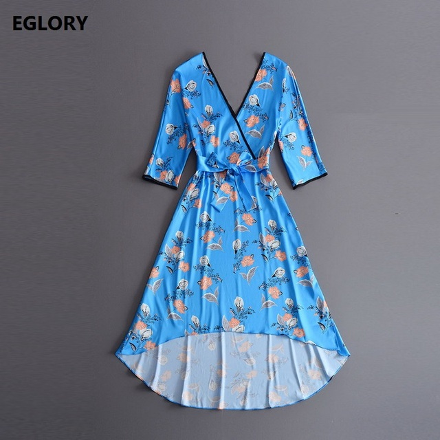 New Korean Fashion Celebrity Designer Dress Autumn 2017 Women V-Neck Beautiful Floral Print Casual Iregular Style Blue Dress