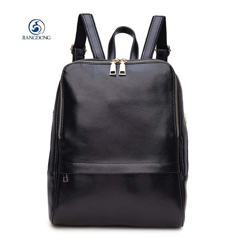 JIANGDONG Genuine Leather Women Backpack shoulder bag Korean Style Ladies Strap Laptop Bag Daily Backpack Tote Bags hmily 2018 new leather women s bags personalized ladies bag metal stamp accessory backpack korean style wave backpacks