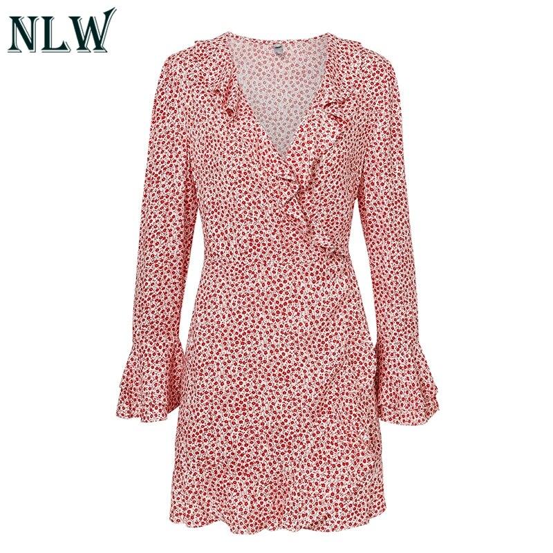 32eedc710fddd NLW Sexy Ruffle V Neck Red Black Mini Dress Boho Floral Wrap Dress 2018  Fall Long Sleeve Elegant Beach Party Dress Vestidos