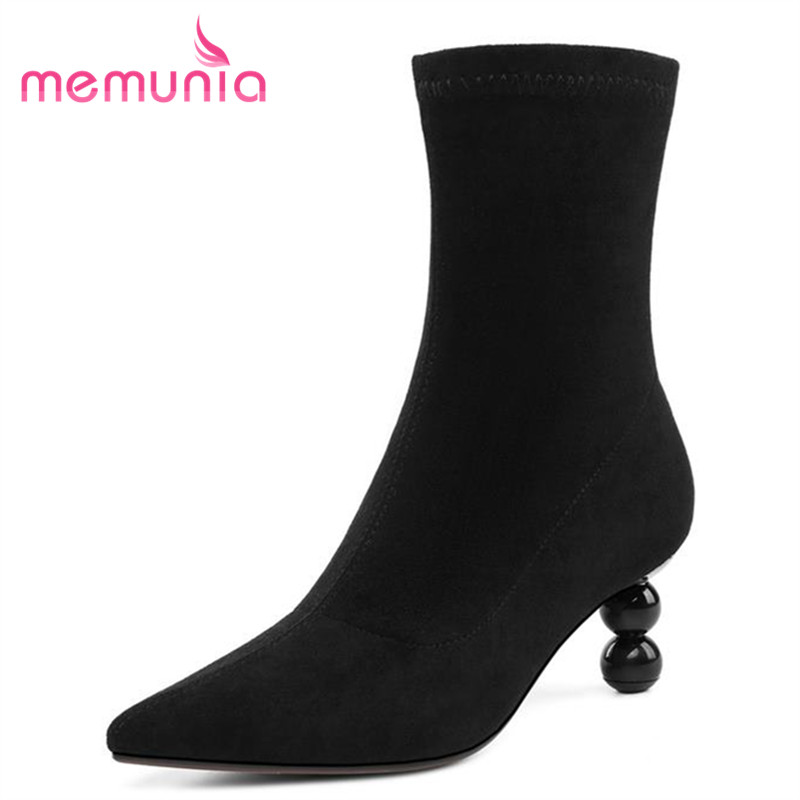 MEMUNIA women new arrival fashion ankle boots leisure autumn winter boots hot sale pointed toe thin heels boots ladies shoesMEMUNIA women new arrival fashion ankle boots leisure autumn winter boots hot sale pointed toe thin heels boots ladies shoes