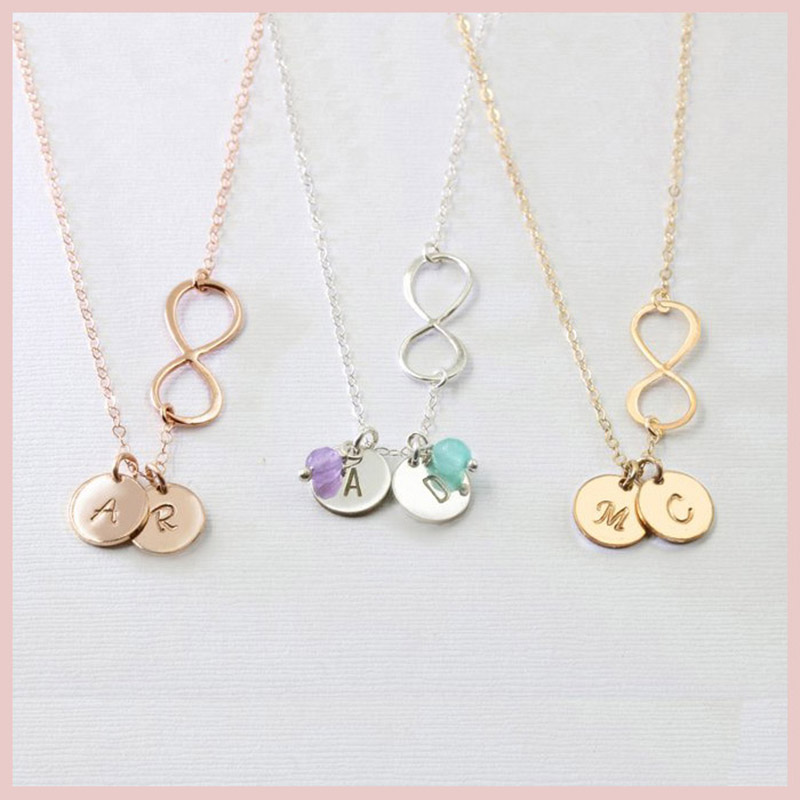 Personalized Infinity necklace 925 Silver Customized initial discs Pendant Necklace Fashion jewelry idea gift for Mothers day .