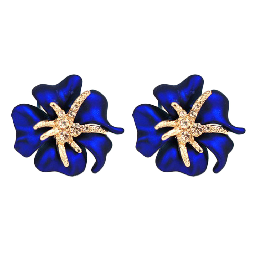 charming fine jewelry 4 colors brinco pequeno 1 pair New Jewelry Crystal Flower Starfish Cocktail Earrings Cuff