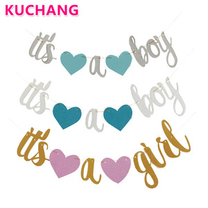 1 Set It's A Boy It's A Girl Banner Newborn Party Decorative String Flags Girl Boy Baby Shower Party Bunting Wall Decoration Toy(China)