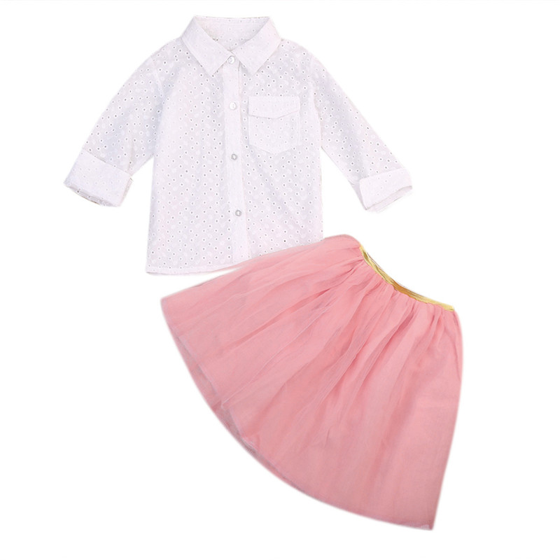 Toddler Kid Baby Girl Clothes Set White Long Sleeve Blouse Pocket Top Pink Tutu Skirt Girls Summer Costume Clothing Outfit