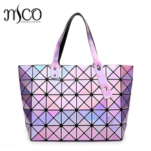 Japan Bao Women Geometric Holographic Handbags Laser Folding Clutch bags Women Shopping Travel Summer Beach Tote Bag for Girls