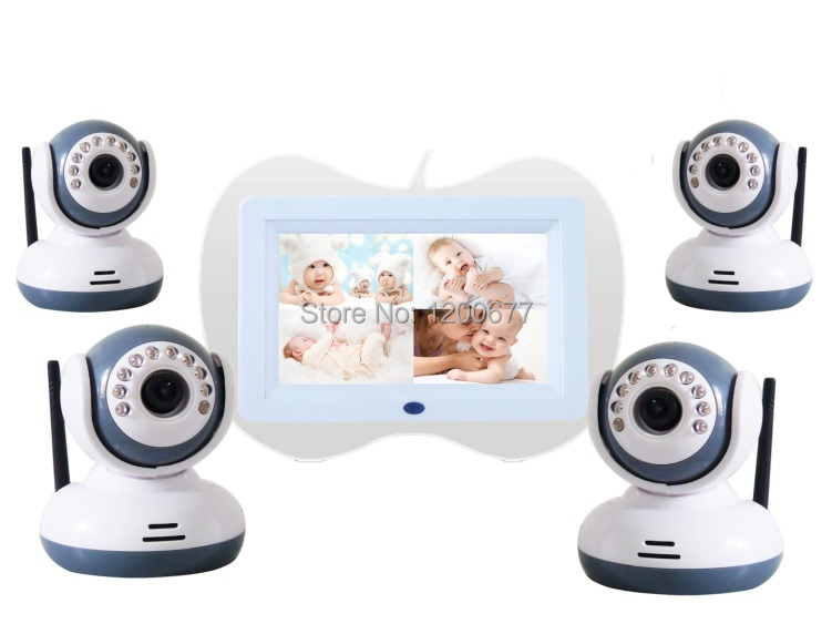 ФОТО hot 7.0 inch video baby monitors 4 channels ir night vision wireless power save baba electronics baby monitors support max 32gb
