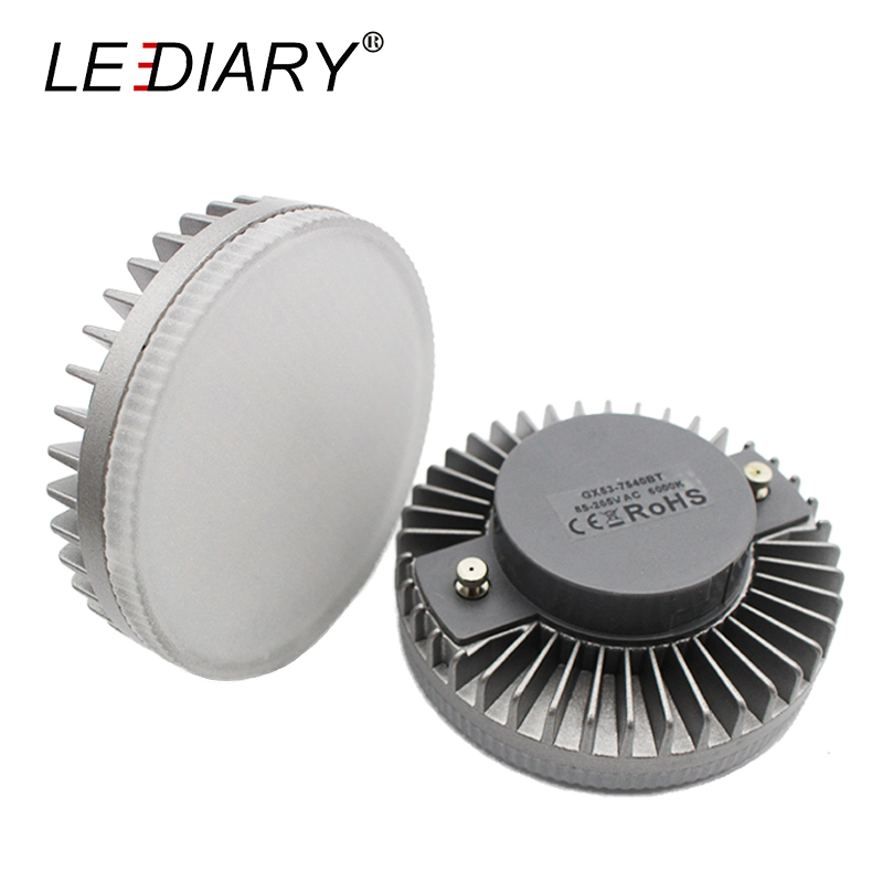 LEDIARY Super Bright LED GX53 Bulb 110V-240V Aluminum Cooling&Frosted PC Cover Real 8W Downlight GX53 Cabinet 3000/4000/6000K