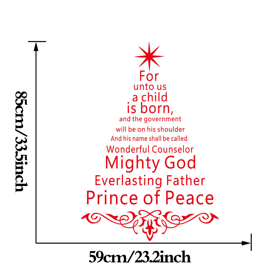 Jesus Christ Faith Quotes Christmas Tree Wall Sticker Poster For Living Room Shop Window Glass Wall Decals Christmas Decoration