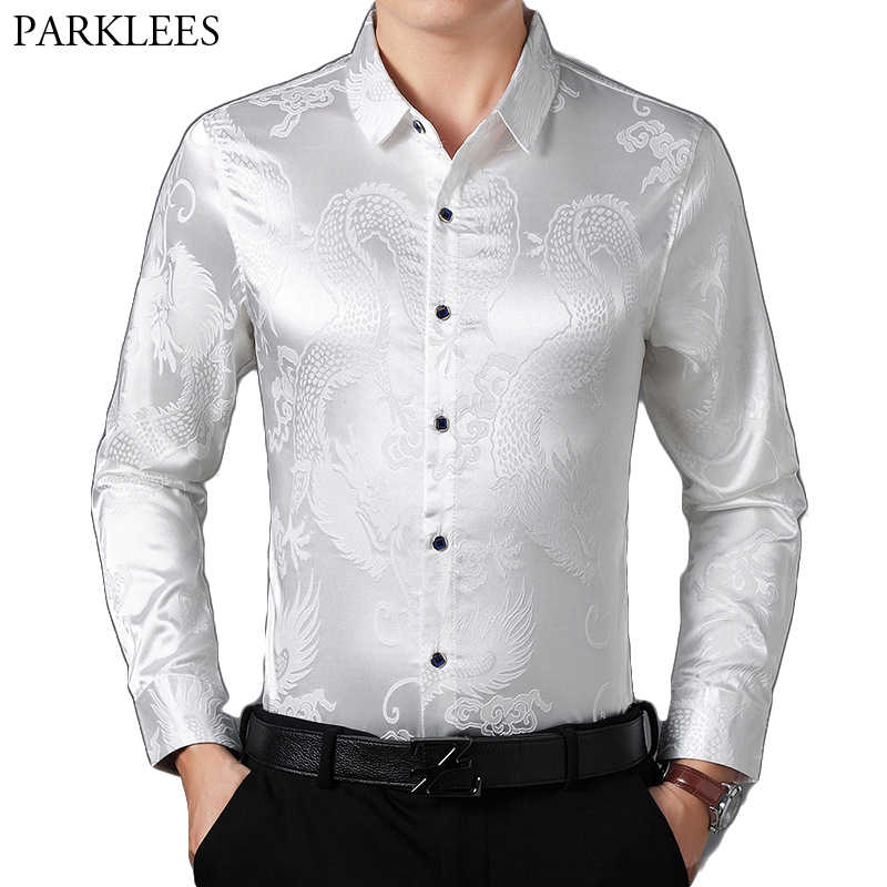 195048dff Mens Long Sleeve Satin Luxury Dragon Jacquard Silk Dress Shirt Party Prom  Button Down Shirts Slim