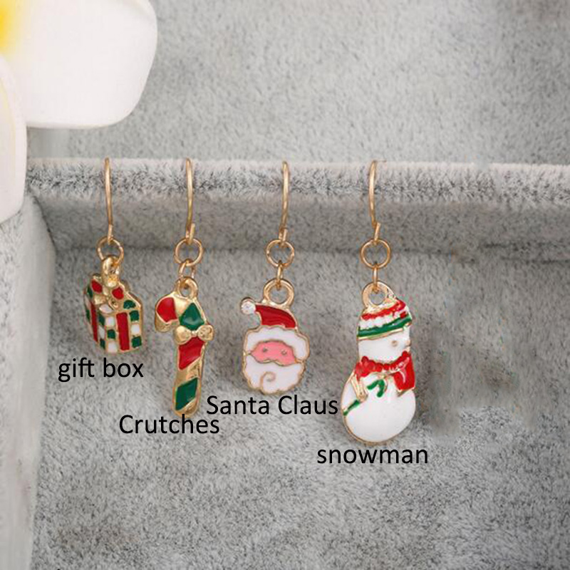 8 Color Choose Santa Snowman Gift Box Crutch Clip on Earrings Non Piercing for Christmas No Hole Ear Clip with Pierced Earrings