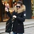 2015 abrigo de invierno mujer gruesa wram abrigo Militar de lana de gran cuello de piel mujer parka chaqueta más el tamaño M-4XL DX281