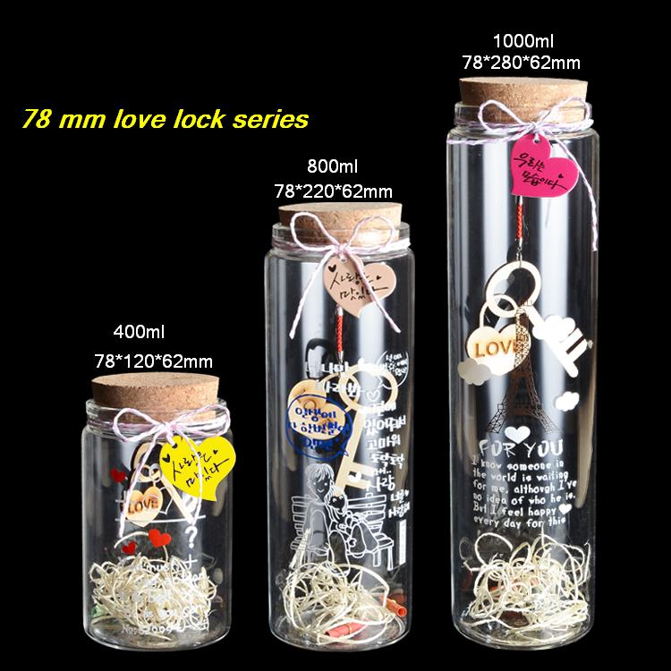 400ml/800ml/1000ml glass bottle with cork love lock wishing bottle luck drift bottle Creative Decorative Vials screen printing free shipping 200 250 360ml glass bottle with cork storage tank luck star bottle creative decorative vials valentine s day gift