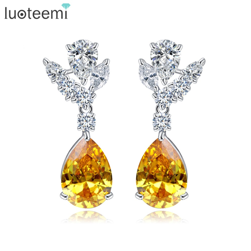 LUOTEEMI Sparkling Fashion Top Quality Yellow Waterdrop Zircon Classic Stud Ականջօղեր Brincos կանանց համար ոսկերչական նվեր