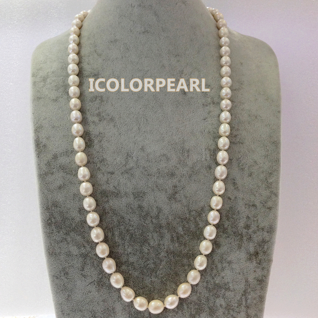 90cm 10-12mm Water Drop White Real Natural Freshwater Pearl Opera Necklace,. Best Jewelry Gift For Mothers!