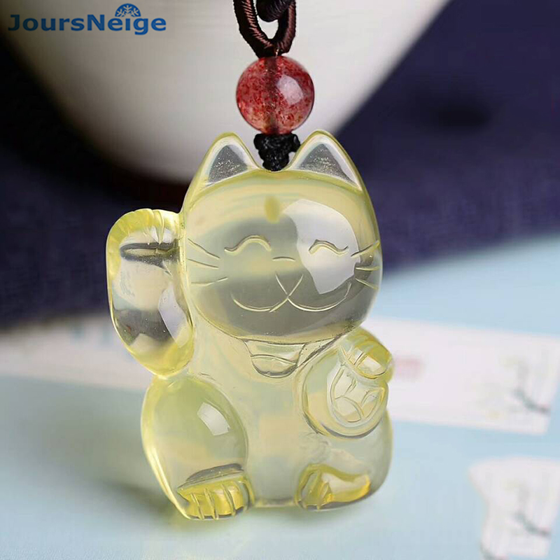 Wholesale Yellow Natural Crystal Pendants Hand Carved Lucky Cat Pendant Sweater Chain Necklace Lucky for Women Men Gift Jewelry lacywear brm 58 shi