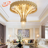 Modern Big Hotel Crystal Chandelier Lighting Large LED Stairwell Chandeliers Lamp Luxury Stair Pendant Hanging Light Fixture